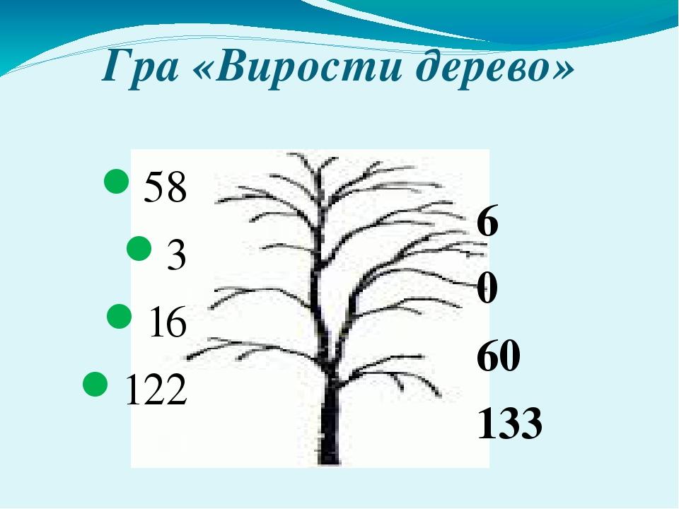 Гра «Вирости дерево» 58 3 16 122 6 0 60 133