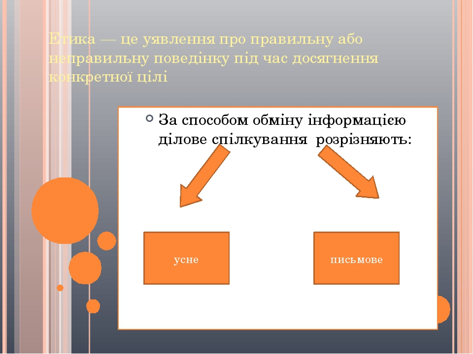 Етика — це уявлення про правильну або неправильну поведінку під час досягнення конкретної цілі За способом обміну інформацією ділове спілкування ро...