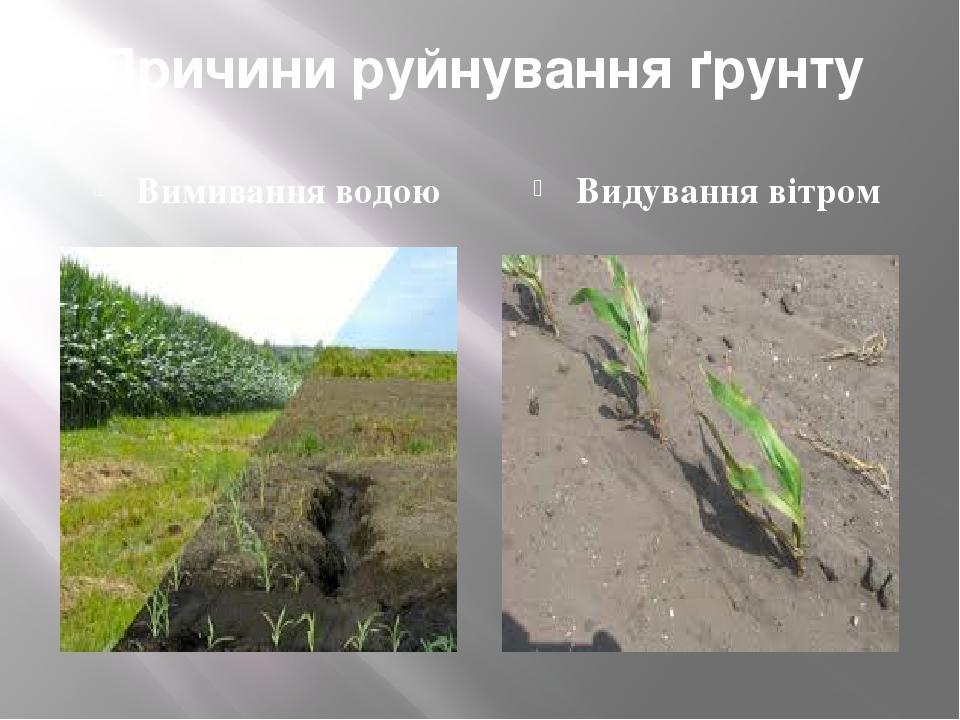 Причини руйнування ґрунту Вимивання водою Видування вітром