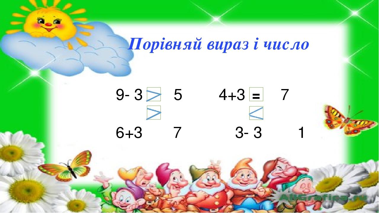 9- 3 5 4+3 7 6+3 7 3- 3 1 = Порівняй вираз і число