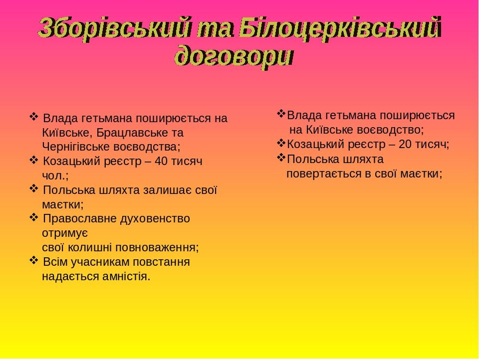 Влада гетьмана поширюється на Київське, Брацлавське та Чернігівське воєводства; Козацький реєстр – 40 тисяч чол.; Польська шляхта залишає свої маєт...