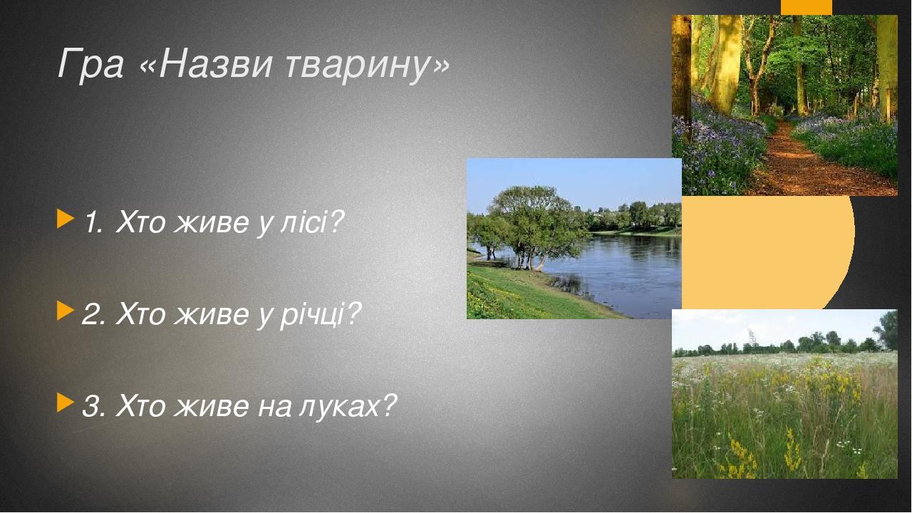 Гра «Назви тварину» 1. Хто живе у лісі? 2. Хто живе у річці? 3. Хто живе на луках?