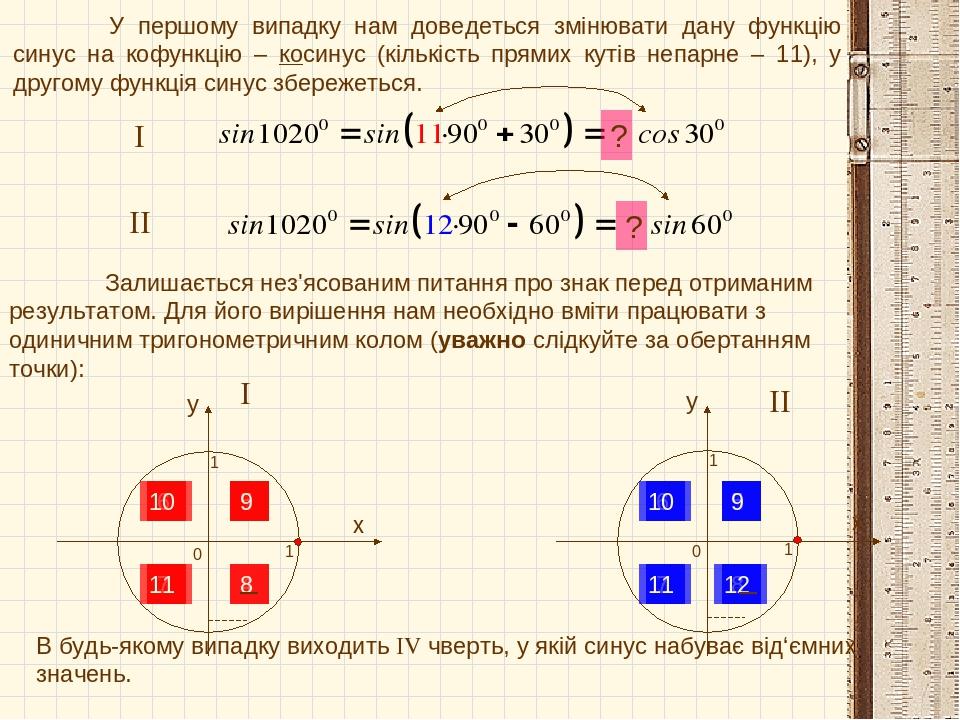 У першому випадку нам доведеться змінювати дану функцію синус на кофункцію – косинус (кількість прямих кутів непарне – 11), у другому функція синус...