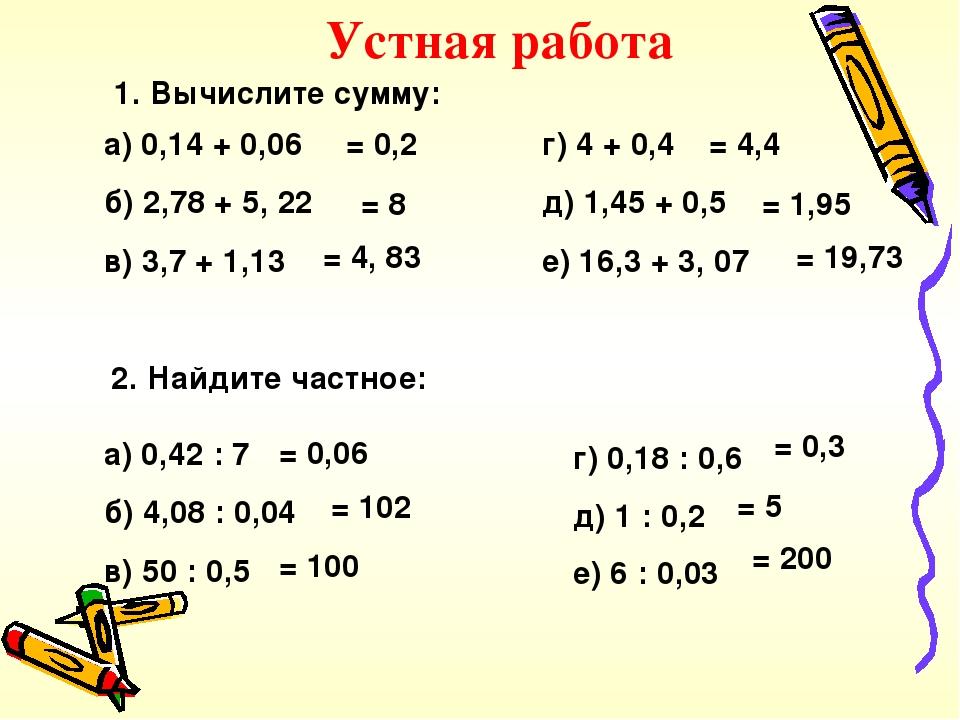 1. Вычислите сумму: а) 0,14 + 0,06 б) 2,78 + 5, 22 в) 3,7 + 1,13 г) 4 + 0,4 д) 1,45 + 0,5 е) 16,3 + 3, 07 2. Найдите частное: а) 0,42 : 7 б) 4,08 :...
