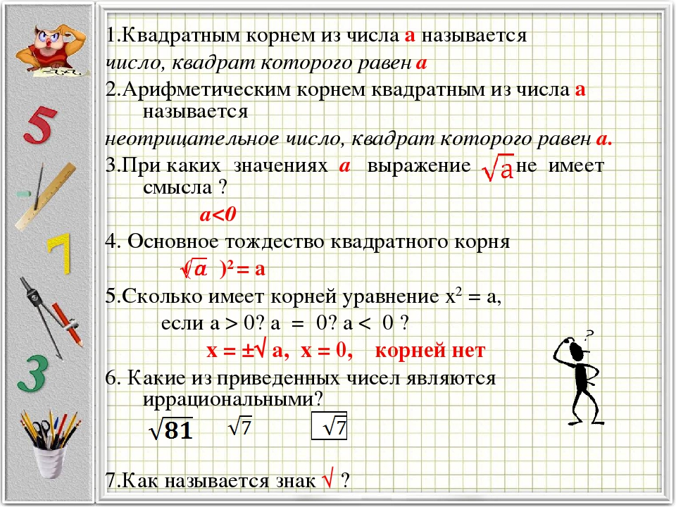 1.Квадратным корнем из числа а называется число, квадрат которого равен а 2.Арифметическим корнем квадратным из числа а называется неотрицательное ...