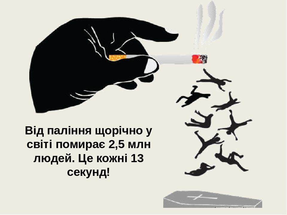 Від паління щорічно у світі помирає 2,5 млн людей. Це кожні 13 секунд!