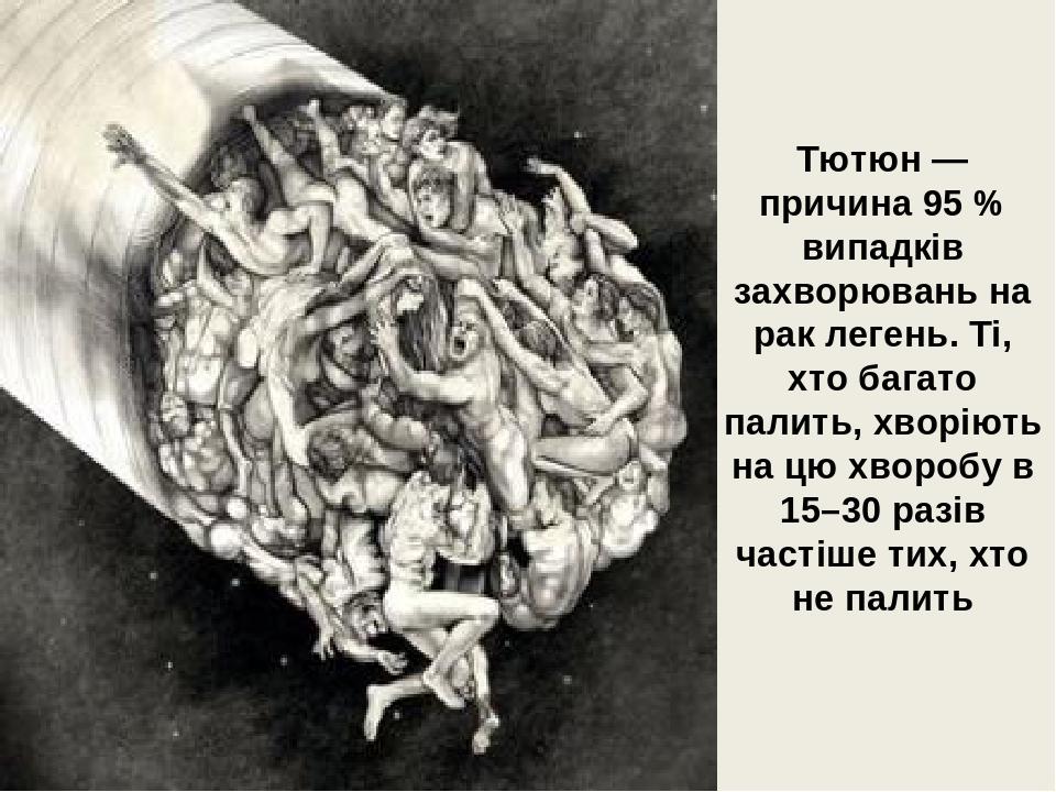 Тютюн — причина 95 % випадків захворювань на рак легень. Ті, хто багато палить, хворіють на цю хворобу в 15–30 разів частіше тих, хто не палить