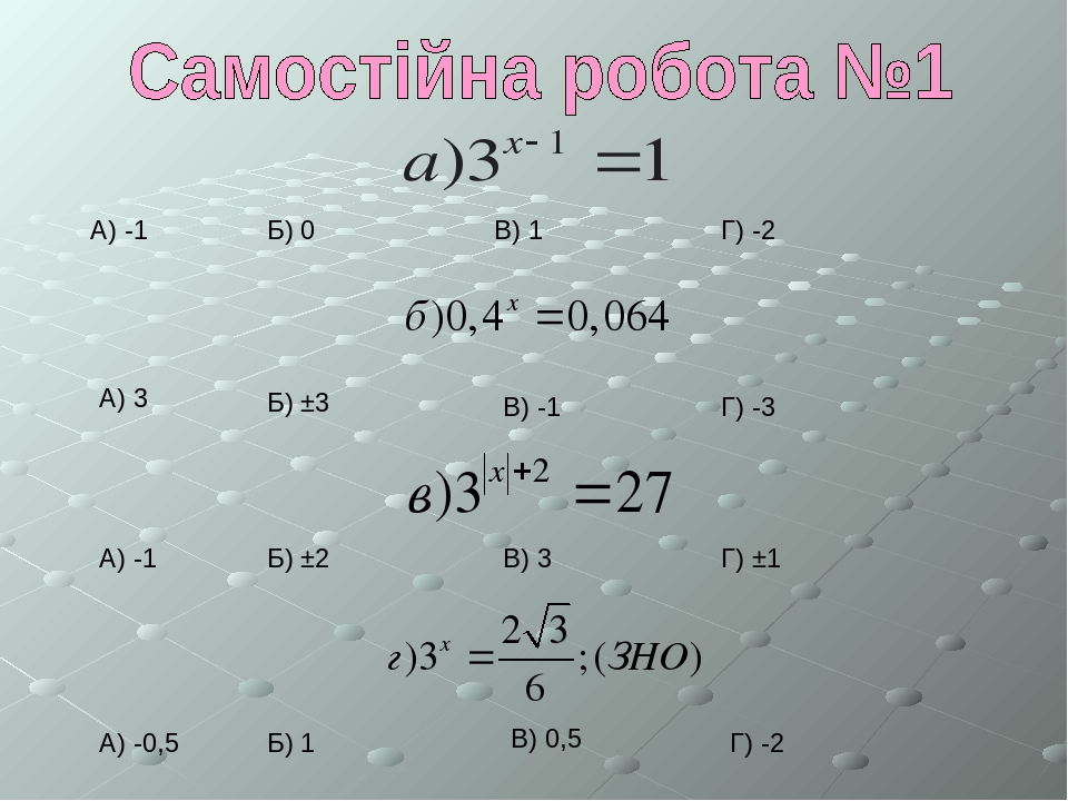 В) 1 А) -1 Б) 0 Г) -2 А) 3 Б) ±3 В) -1 Г) -3 А) -1 Б) ±2 В) 3 Г) ±1 А) -0,5 Б) 1 В) 0,5 Г) -2