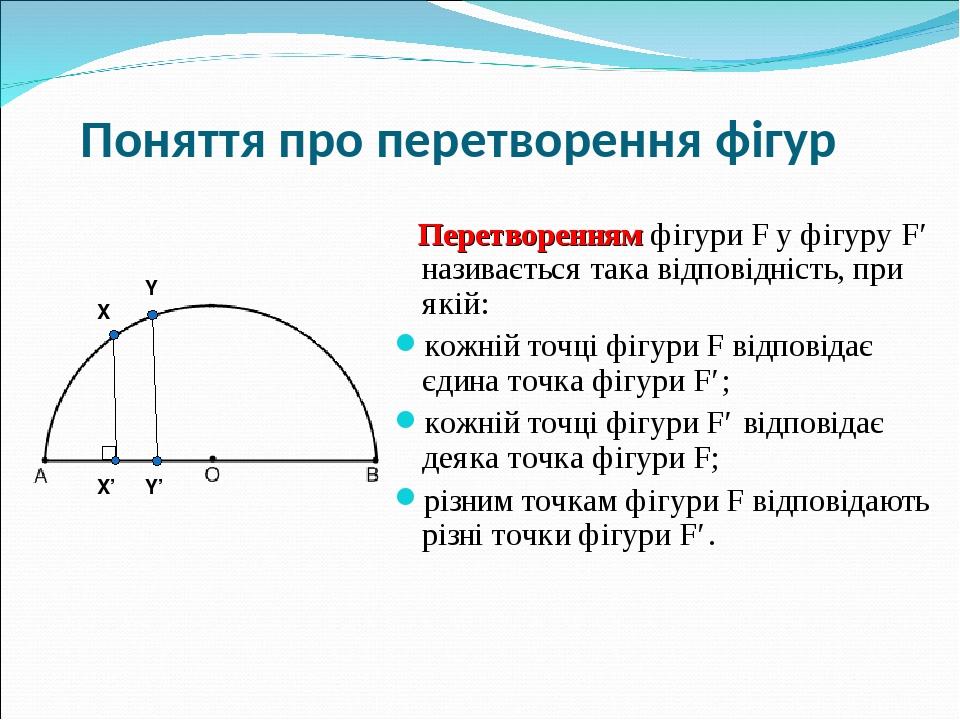 Поняття про перетворення фігур Перетворенням фігури F у фігуру F′ називається така відповідність, при якій: кожній точці фігури F відповідає єдина ...