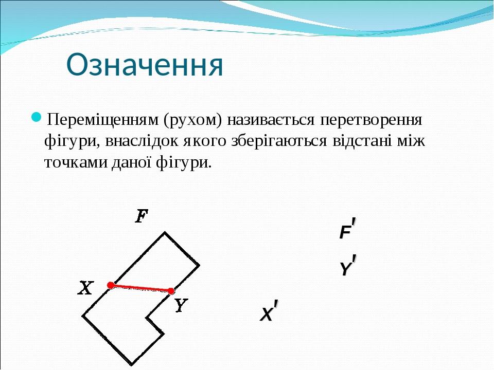 Означення Переміщенням (рухом) називається перетворення фігури, внаслідок якого зберігаються відстані між точками даної фігури. X′ F′ Y′