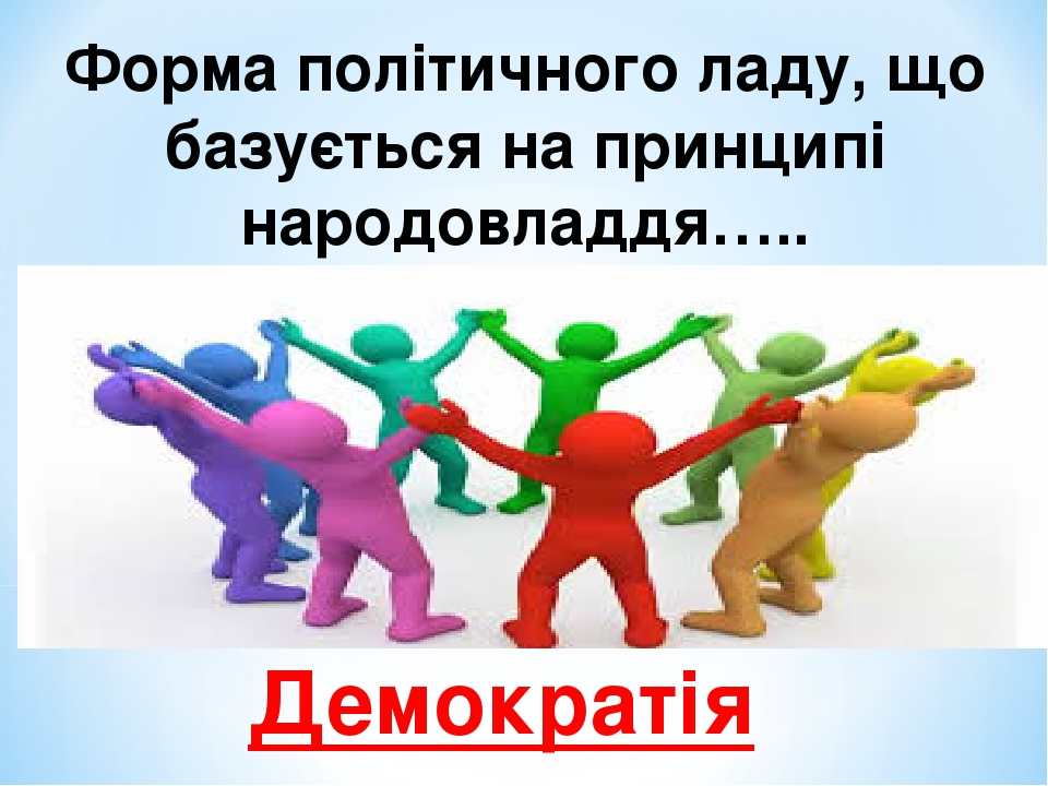 Форма політичного ладу, що базується на принципі народовладдя….. Демократія