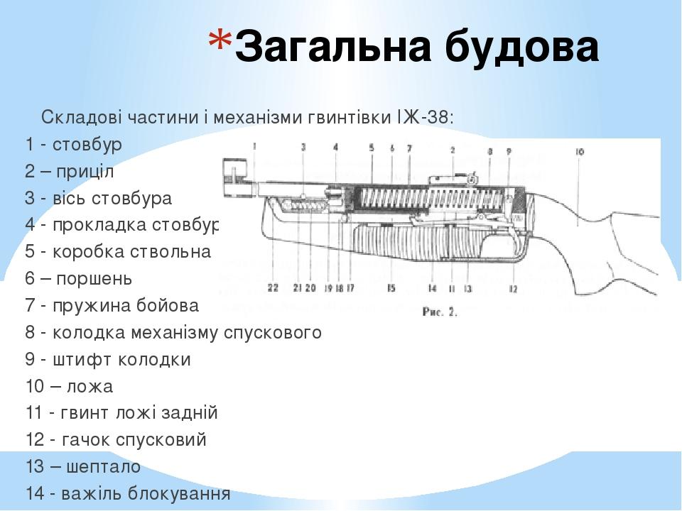 Загальна будова Складові частини і механізми гвинтівки ІЖ-38: 1 - стовбур 2 – приціл 3 - вісь стовбура 4 - прокладка стовбура 5 - коробка ствольна ...