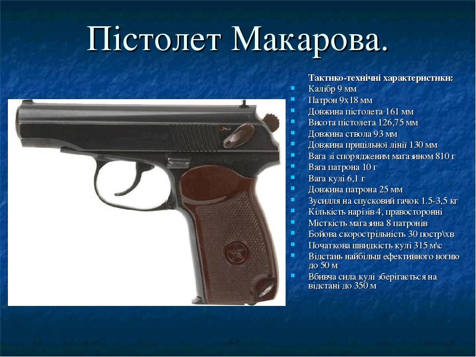 Пістолет Макарова. Тактико-технічні характеристики: Калібр 9 мм Патрон 9х18 мм Довжина пістолета 161 мм Висота пістолета 126,75 мм Довжина ствола 9...