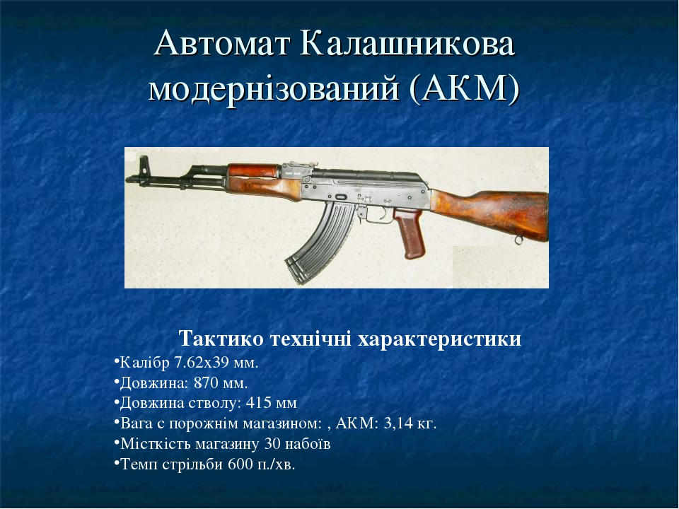 Автомат Калашникова модернізований (АКМ) Тактико технічні характеристики Калібр 7.62x39 мм. Довжина: 870 мм. Довжина стволу: 415 мм Вага с порожнім...