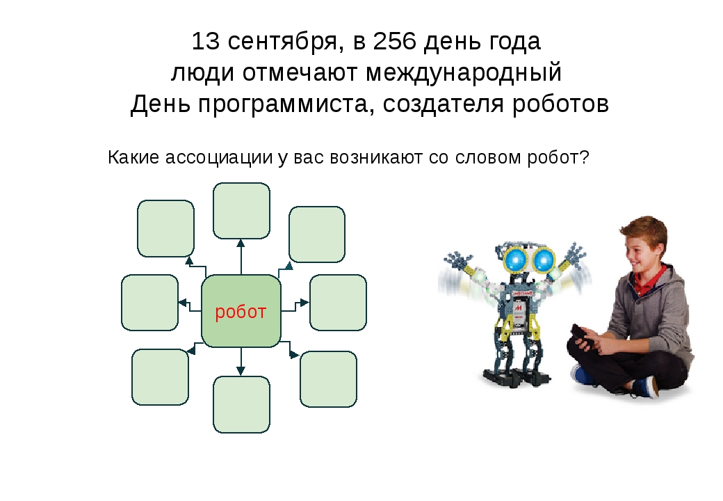 Какие ассоциации у вас возникают со словом робот? 13 сентября, в 256 день года люди отмечают международный День программиста, создателя роботов робот