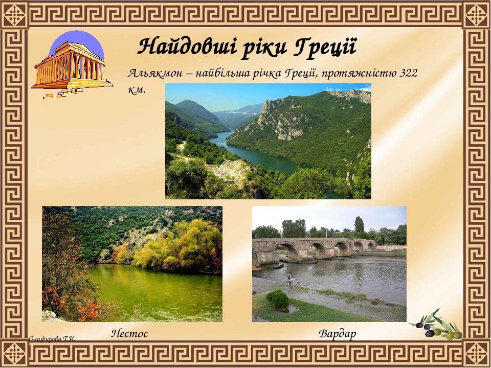 Найдовші ріки Греції Нестос Альякмон – найбільша річка Греції, протяжністю 322 км. Вардар Олифирова Т.И.
