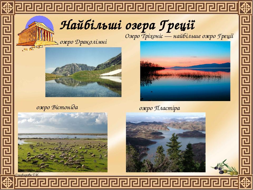 Найбільші озера Греції Озеро Тріхоніс — найбільше озеро Греції озеро Вістоніда озеро Пластіра озеро Драколімні Олифирова Т.И.