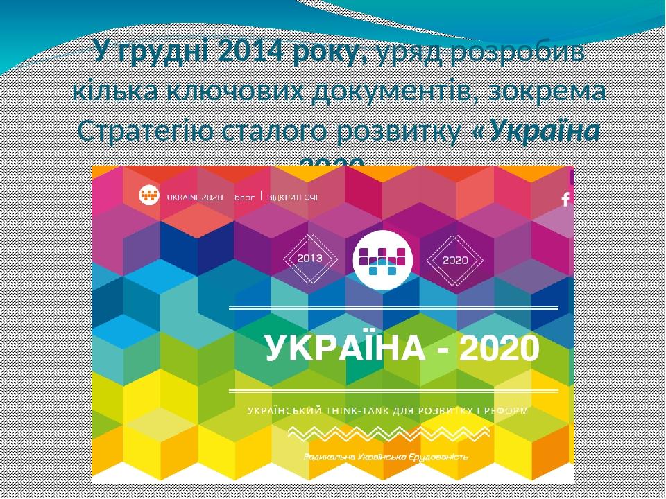У грудні 2014 року, уряд розробив кілька ключових документів, зокрема Стратегію сталого розвитку «Україна 2020»