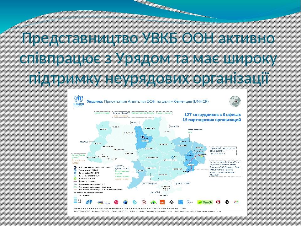 Представництво УВКБ ООН активно співпрацює з Урядом та має широку підтримку неурядових організації