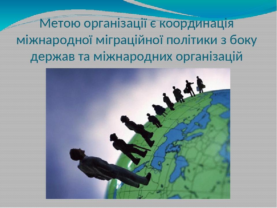 Метою організації є координація міжнародної міграційної політики з боку держав та міжнародних організацій
