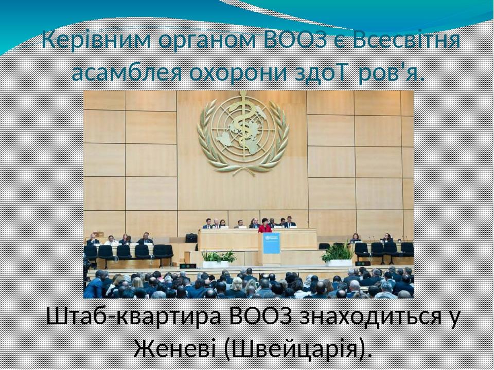 Керівним органом ВООЗ є Всесвітня асамблея охорони здоров'я. Штаб-квартира ВООЗ знаходиться у Женеві (Швейцарія).