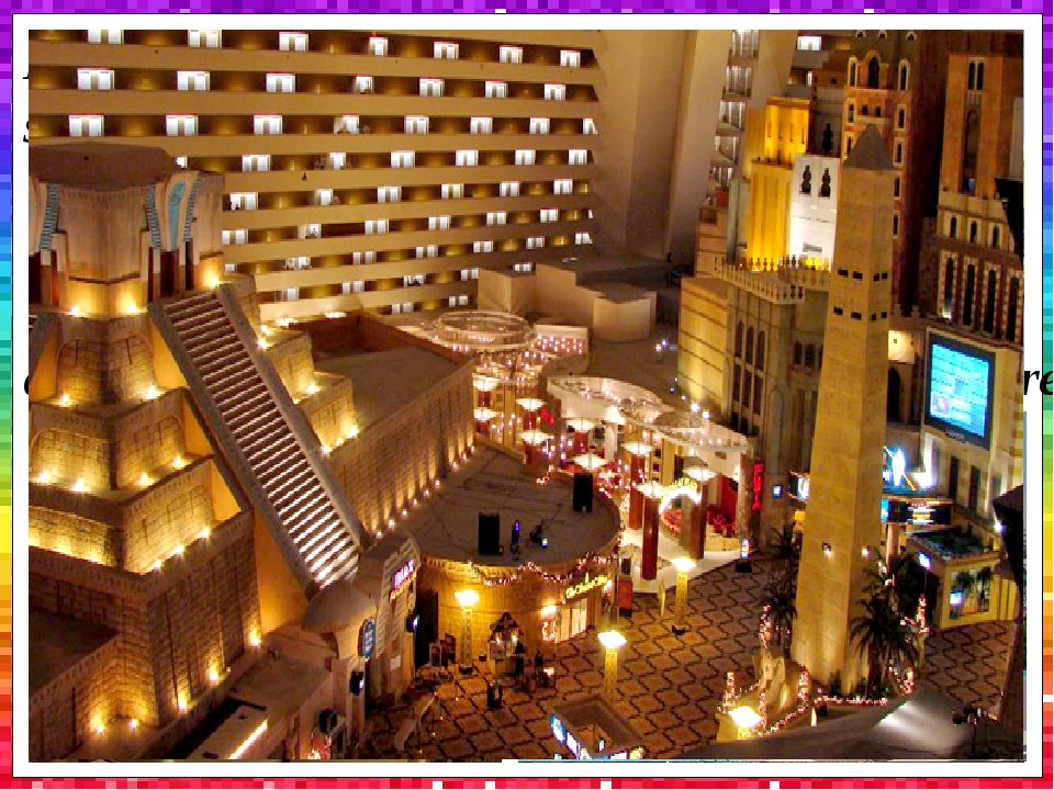 Luxor Las Vegas includes 20,000 sqft (1,900m2) of convention space, four swimming pools and whirlpools, a wedding chapel, Nurture Spa and Salon,...