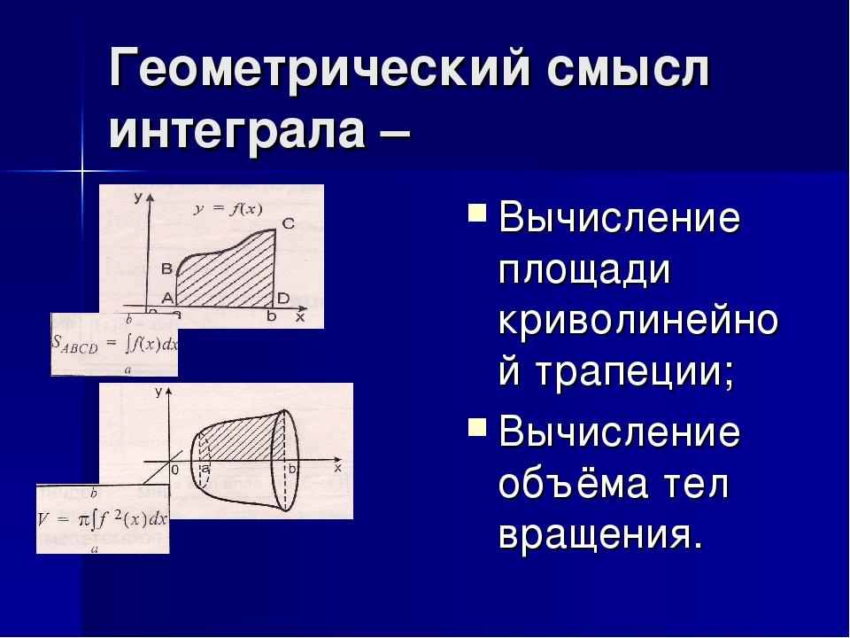 Геометрический смысл интеграла – Вычисление площади криволинейной трапеции; Вычисление объёма тел вращения.