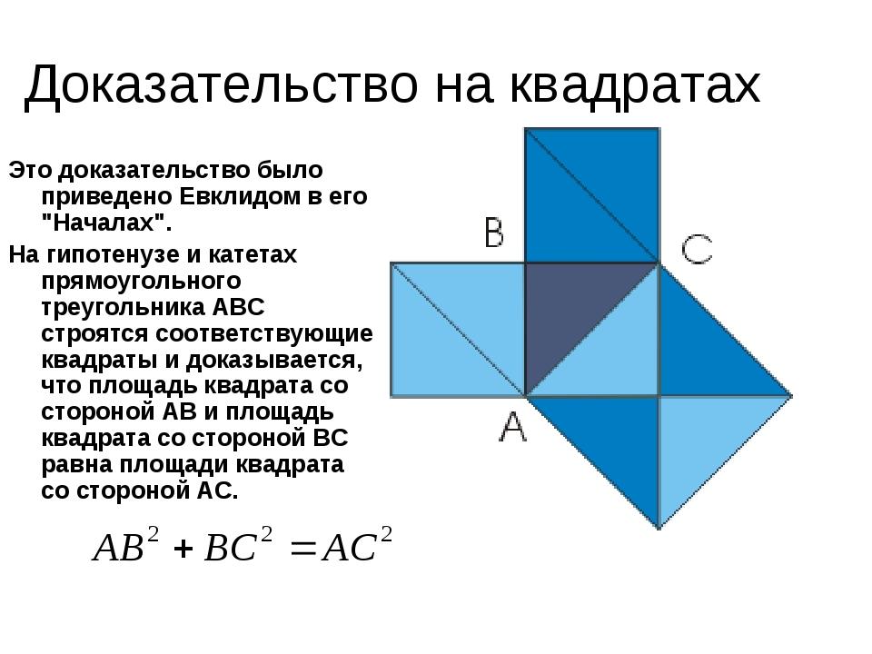 """Доказательство на квадратах Это доказательство было приведено Евклидом в его """"Началах"""". На гипотенузе и катетах прямоугольного треугольника АВС стр..."""