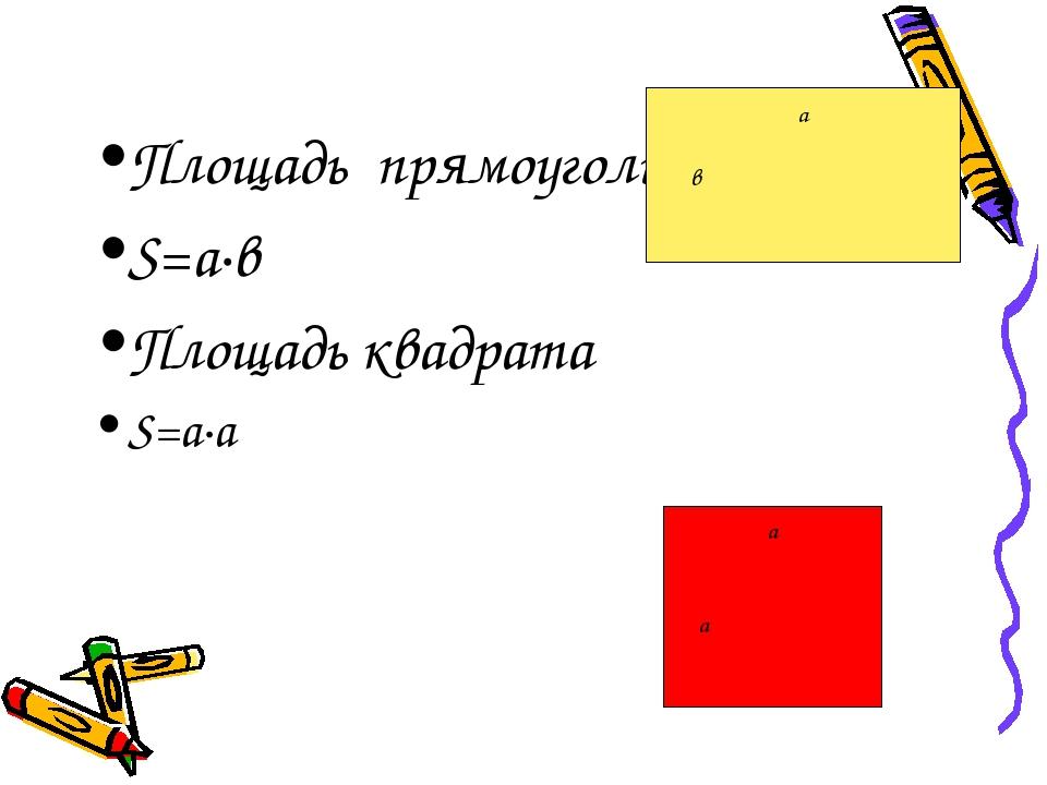 Площадь прямоугольника S=a·в Площадь квадрата S=a·a а в а а