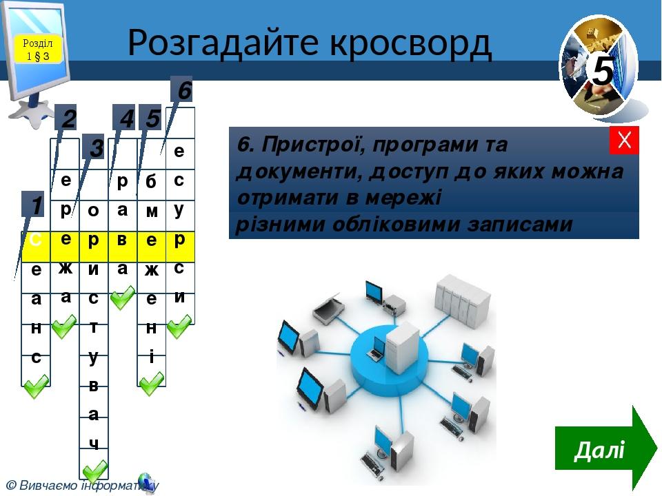 Розгадайте кросворд Розділ 1 § 3 1 Робота з комп'ютером з обліковим записом користувача 2 2. Сукупність комп'ютерів та інших пристроїв, з'єднання к...