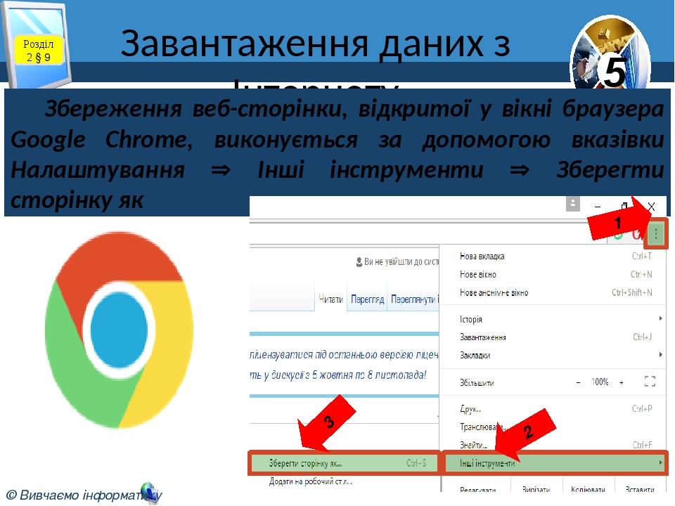 Завантаження даних з Інтернету Розділ 2 § 9 Збереження веб-сторінки, відкритої у вікні браузера Google Chrome, виконується за допомогою вказівки На...