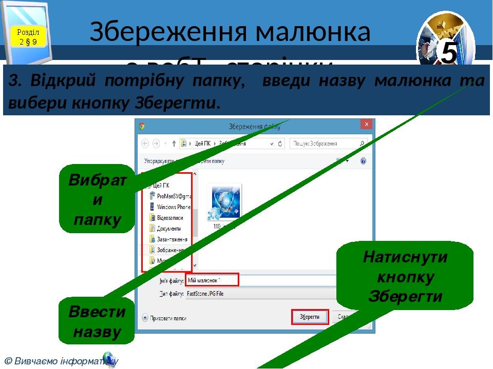 Збереження малюнка з веб-сторінки 3. Відкрий потрібну папку, введи назву малюнка та вибери кнопку Зберегти. Вибрати папку Ввести назву Натиснути к...
