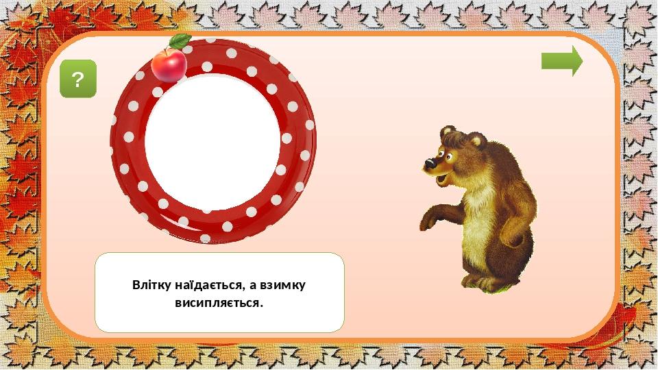 ведмíдь Влітку наїдається, а взимку висипляється. ?