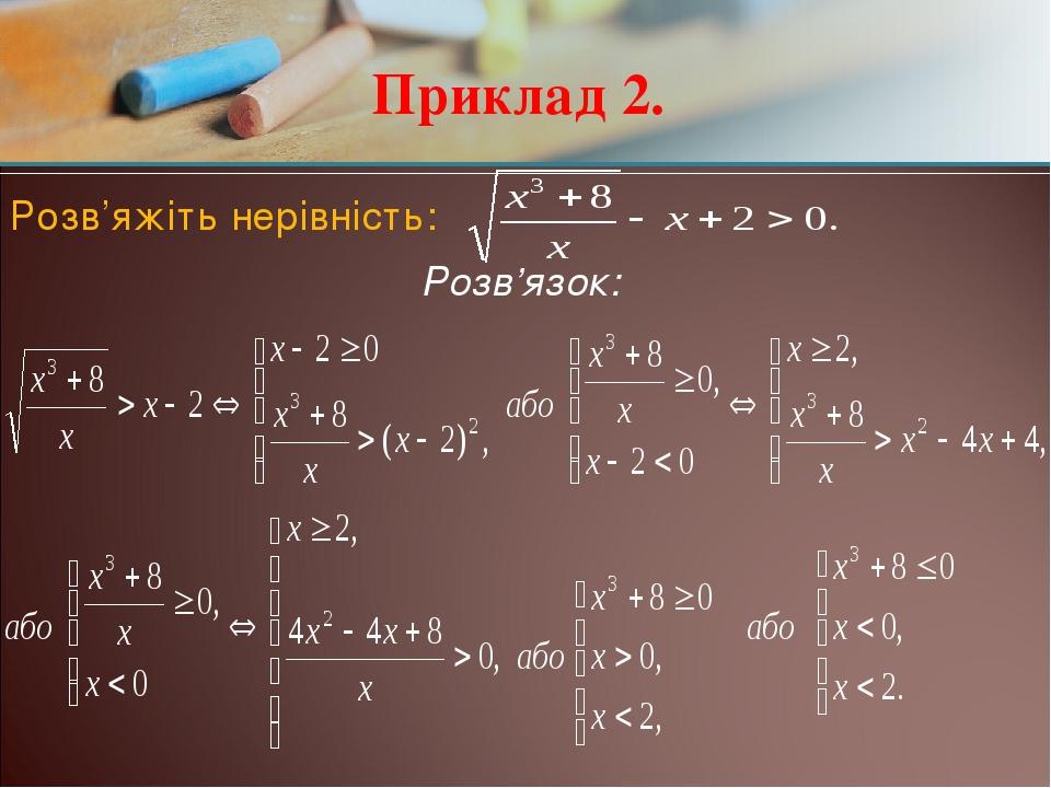 Приклад 2. Розв'яжіть нерівність: Розв'язок: