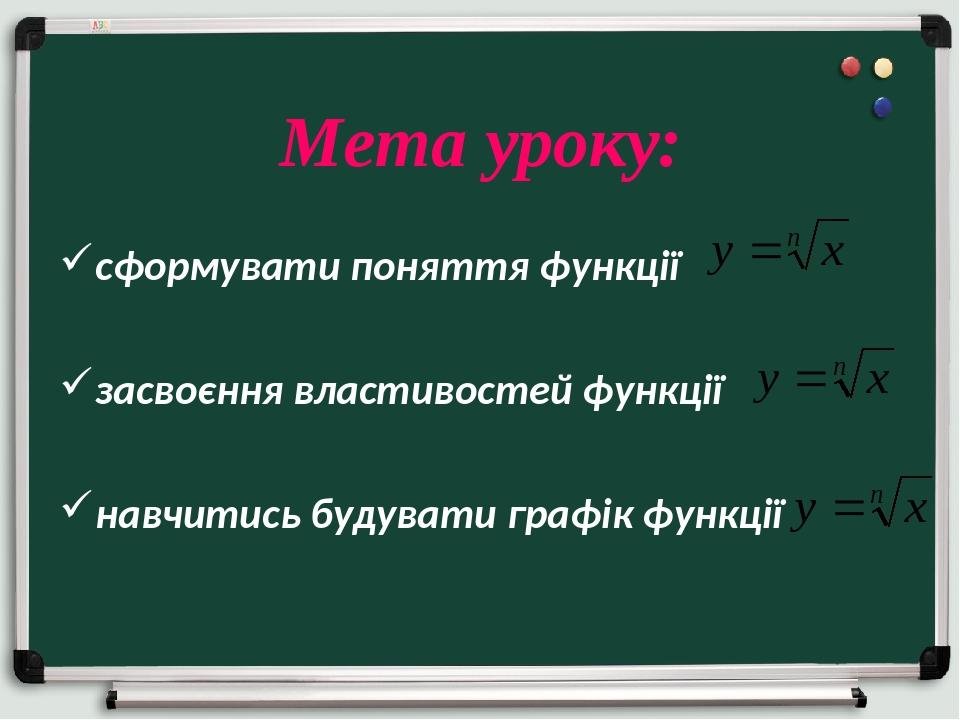 сформувати поняття функції засвоєння властивостей функції навчитись будувати графік функції Мета уроку: