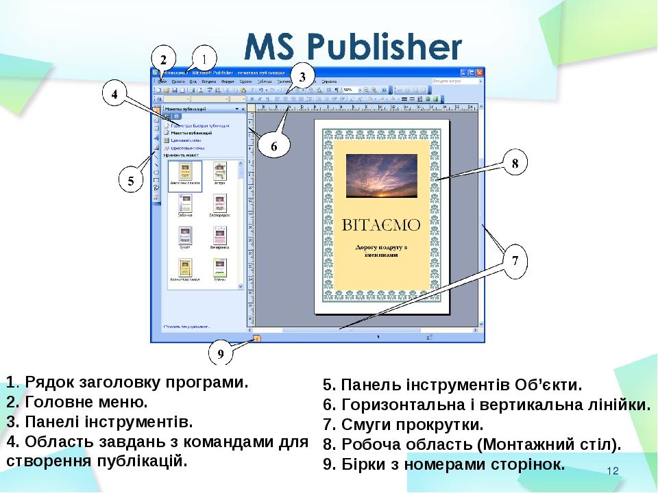 * 1. Рядок заголовку програми. 2. Головне меню. 3. Панелі інструментів. 4. Область завдань з командами для створення публікацій. 5. Панель інструме...