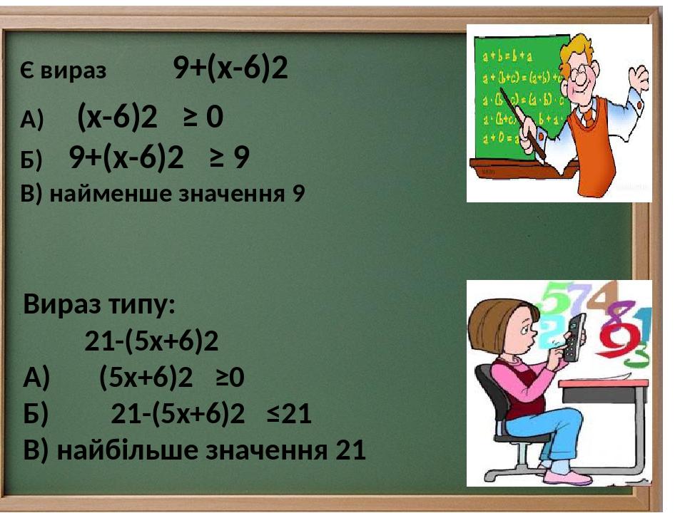 Вираз типу: 21-(5х+6)2 А) (5х+6)2 ≥0 Б) 21-(5х+6)2 ≤21 В) найбільше значення 21 А) (х-6)2 ≥ 0 Б) 9+(х-6)2 ≥ 9 В) найменше значення 9 Є вираз 9+(х-6)2